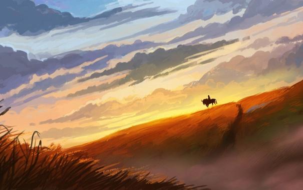 Фото обои закат, склон, силуэт, арт, нарисованный пейзаж