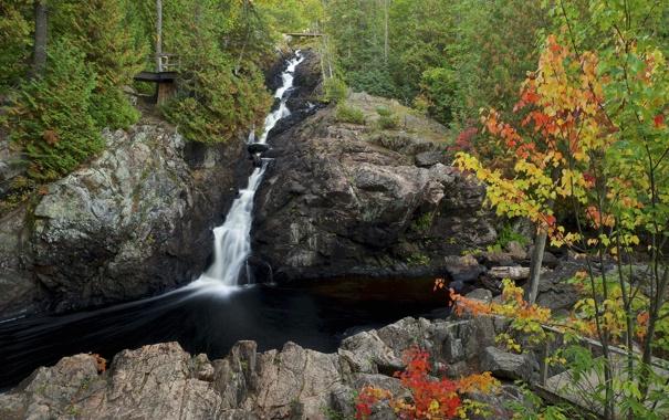 Фото обои осень, лес, деревья, горы, река, скалы, водопад