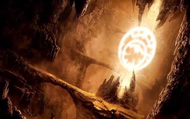 Фото обои fire, magic, sand, stones, cave, construction
