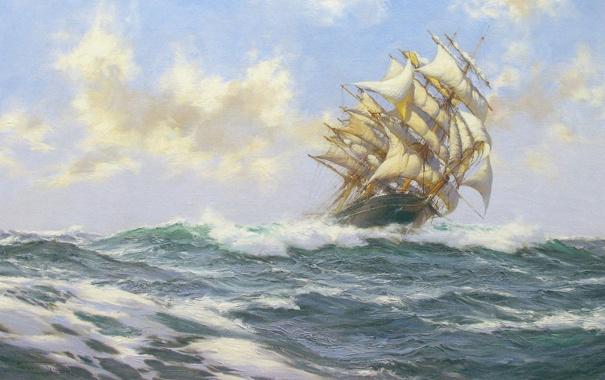 Фото обои море, волны, облака, корабль, парусник, Montague Dawson