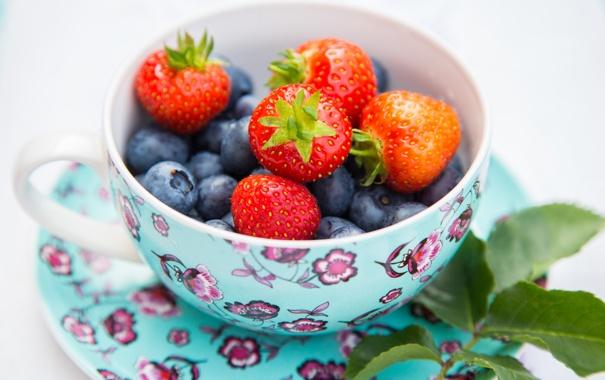 Фото обои лето, листья, ягоды, черника, клубника, чашка, блюдце