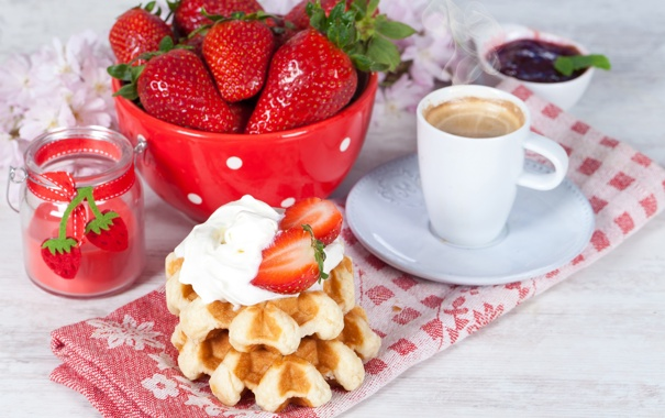 Фото обои клубника, jam, джем, waffles, завтрак, крем, вафли