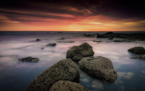 Фото обои море, закат, камни