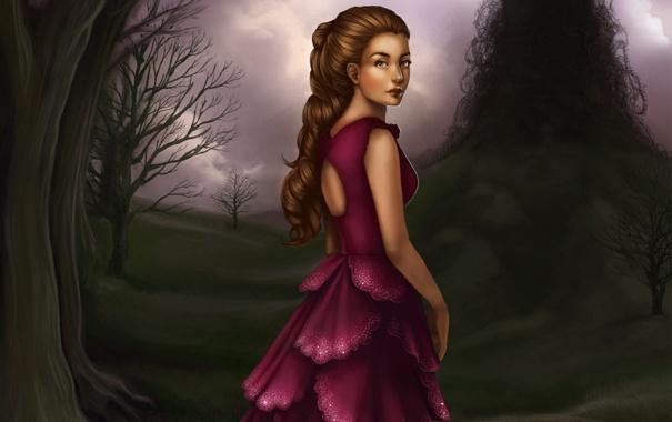 Фото обои девушка, фон, платье, арт, прическа