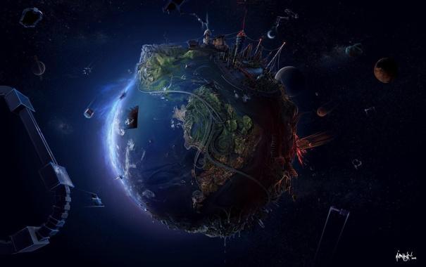 Фото обои космос, планета, арт