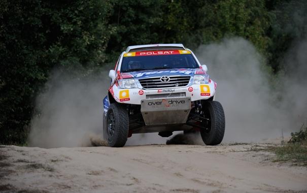 Фото обои Машина, Гонка, Toyota, Rally, Dakar, Внедорожник, Ралли
