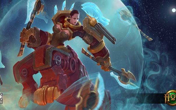 Фото обои девушка, робот, Heroes of Newerth, moba, Moraxus, Axia