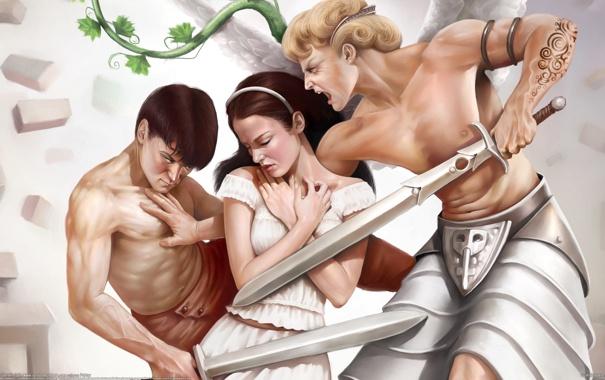 Фото обои девушка, люди, парни, мечи, соперничество, Corrado Vanelli