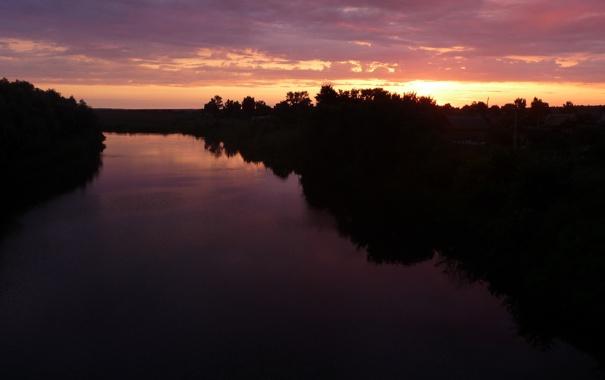 Фото обои небо, река, рассвет, обои, Кадом