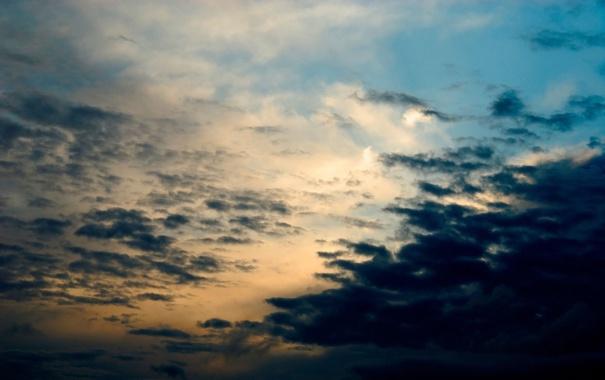 Фото обои небо, облака, закат, природа, вечер