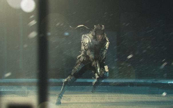 Фото обои снег, ветер, база, агент, metal gear solid, шпион, solid snake