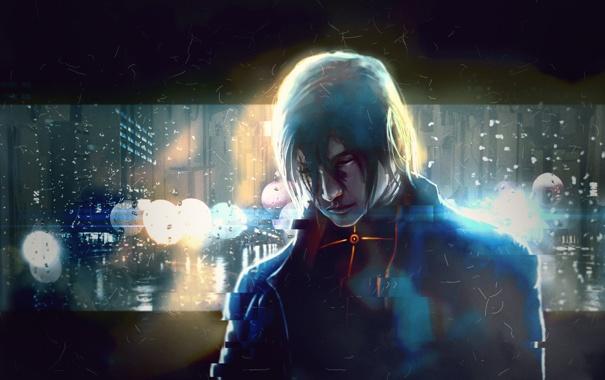 Фото обои дождь, улица, кровь, вечер, мужчина, art, hells priest