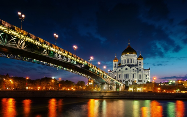 Фото обои ночь, мост, город, река, храм, Russia, Moscow