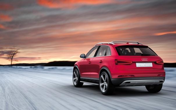 Фото обои Audi, Красный, Авто, Ауди, Внедорожник, Вид сзади, В Движении