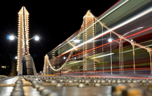 Фото обои ночь, мост, город, Night Bus