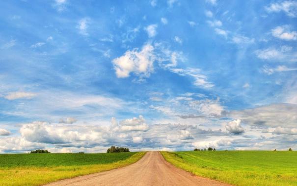 Фото обои дорога, поле, небо, облака, пейзаж, природа, wallpaper