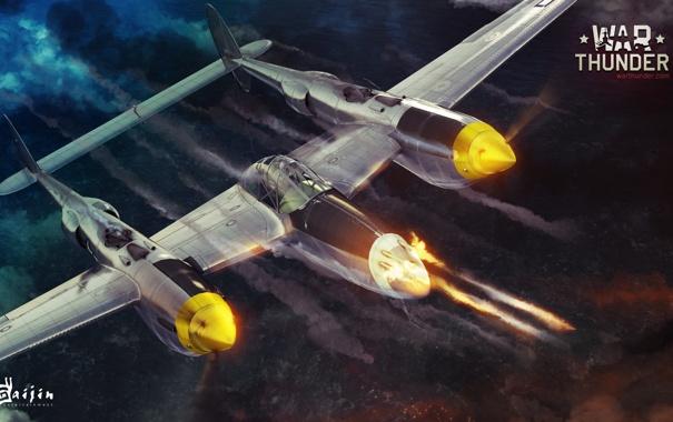 Фото обои небо, самолет, стрельба, Lockheed P-38 Lightning, военная, War Thunder, Gaijin Entertainment