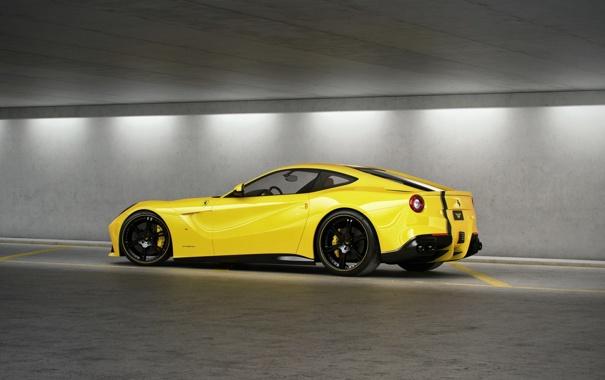 Фото обои жёлтый, профиль, ferrari, феррари, yellow, чёрные диски, F12 berlinetta