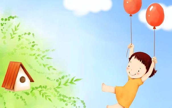 Фото обои листья, облака, ветки, улыбка, воздушные шары, фантазия, платье