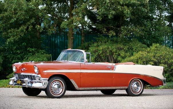 Фото обои деревья, красный, фон, Chevrolet, Шевроле, кабриолет, классика
