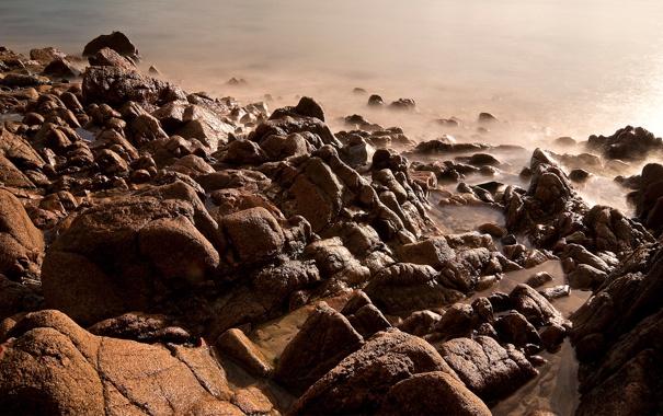 Фото обои вода, свет, природа, камни, скалы, берег, light