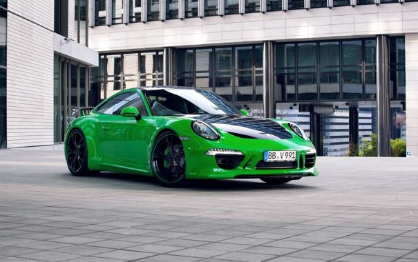 Фото обои купе, 911, Porsche, порше, зеленая, 2013, каррера