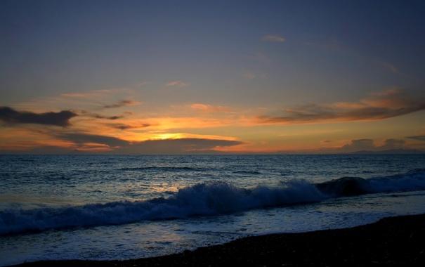 Фото обои море, волны, пляж, небо, вода, закат, берег