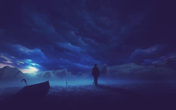 Фото обои горы, тучи, человек, зонт, мрачно
