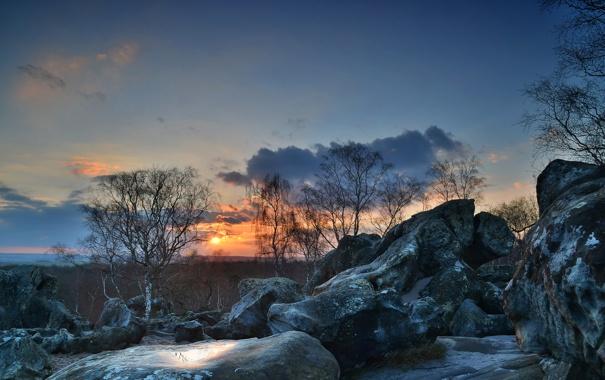 Фото обои небо, облака, закат, камни