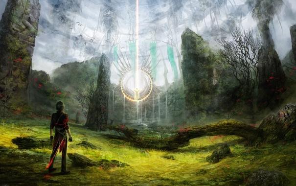 Фото обои лес, свет, камни, магия, путешественник, храм, парень