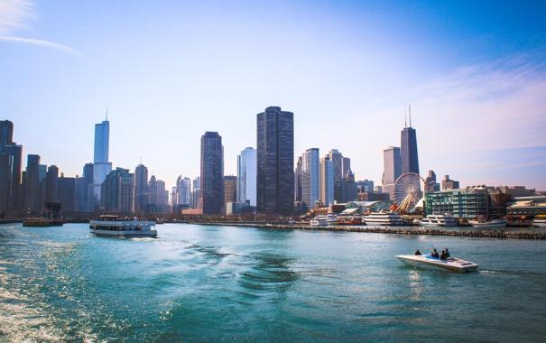 Фото обои вода, city, река, здания, дома, небоскребы, USA