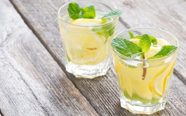 Фото обои лимон, стаканы, напиток, мята, лимонад