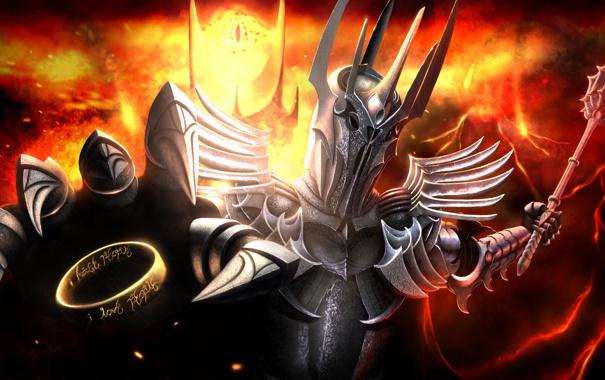 Фото обои кольцо, зло, Властелин Колец, доспех, Lord of the Rings, Sauron