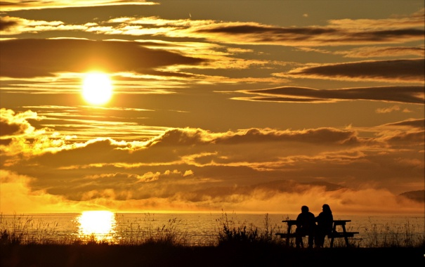 Фото обои море, пейзаж, закат, природа