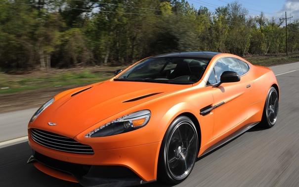 Фото обои Aston Martin, скорость, автомобиль, передок, Vanquish