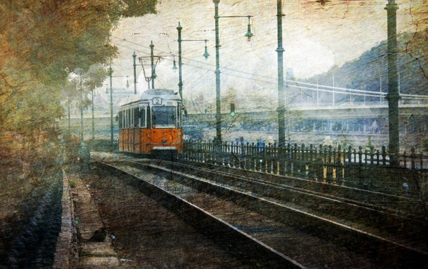 Фото обои город, трамвай, Budapest