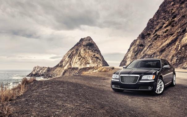 Фото обои Море, Авто, Горы, Черный, Chrysler, Крайслер, 300
