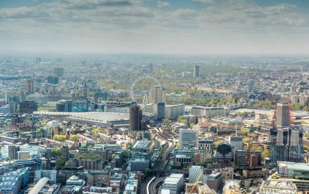 Фото обои англия, дома, лондон, колесо, панорама, london, улицы