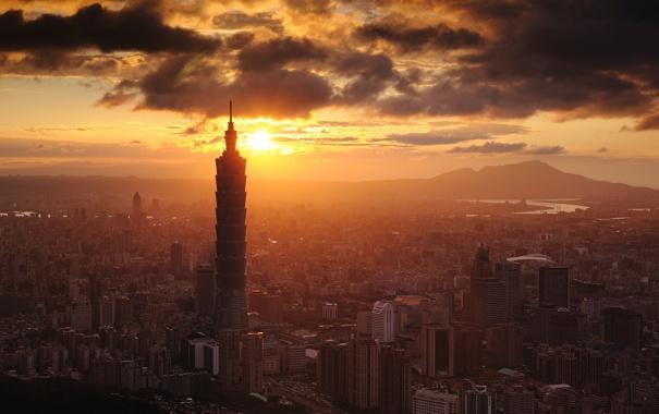Фото обои небо, пейзаж, закат, город, здания, дома
