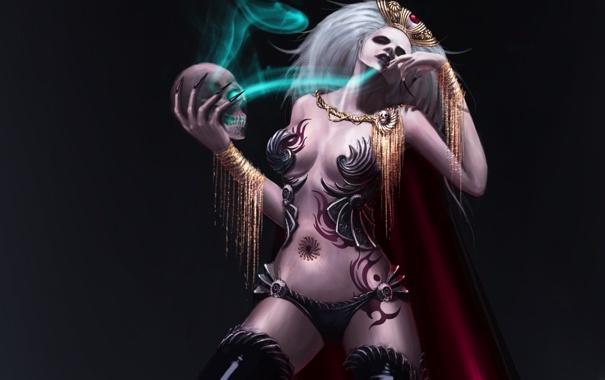 Фото обои девушка, магия, череп, арт, ведьма