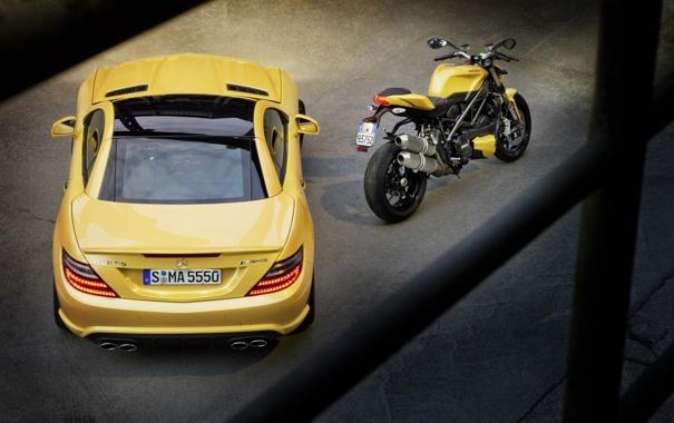 Фото обои машина, желтый, Mercedes-Benz, мотоцикл, суперкар, байк, Ducati