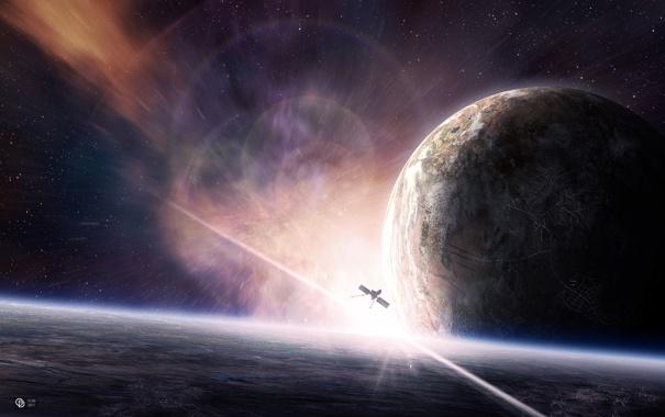 Фото обои звезды, поверхность, планеты, спутник, атмосфера, satellite