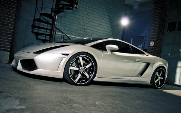 Фото обои белый, тюнинг, Lamborghini, суперкар, white, Gallardo, сбоку