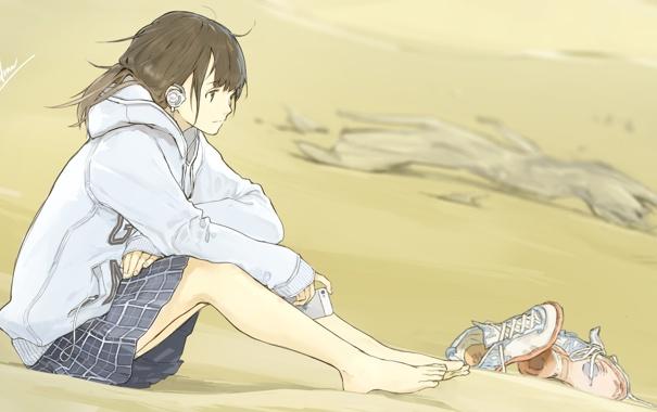 Фото обои песок, девушка, музыка, наушники, арт, форма, loundraw