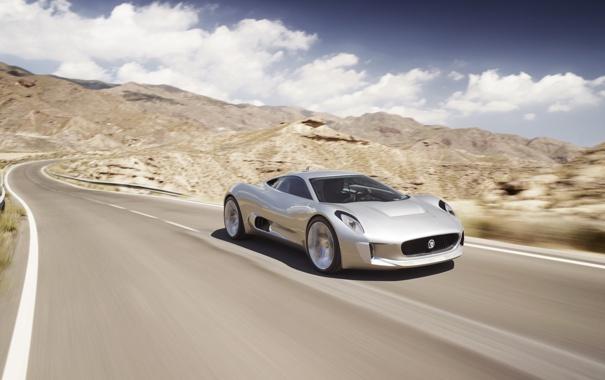 Фото обои дорога, небо, пустыня, скорость, день, jaguar