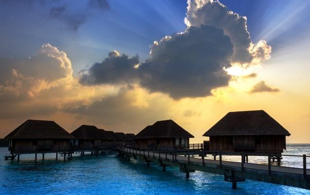 Фото обои море, пейзаж, закат, мост, дома