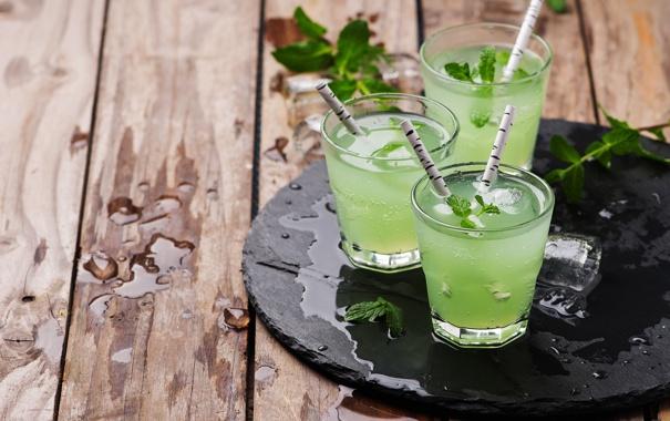 Фото обои коктейль, стаканы, напиток, мохито