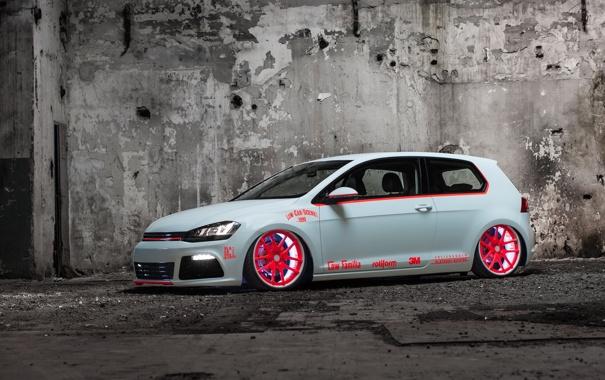 Фото обои Volkswagen, Light, tuning, Tron, Golf, MkVII, Low Car