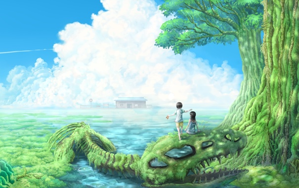 Фото обои вода, пейзаж, дети, дерево, заросли, арт, скелет