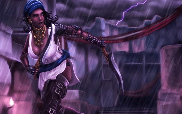 Фото обои дождь, вор, изабелла, арт, dragon age, девушка, оружие